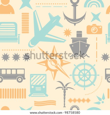 Travel Vacation Icons Seamless Background - stock vector