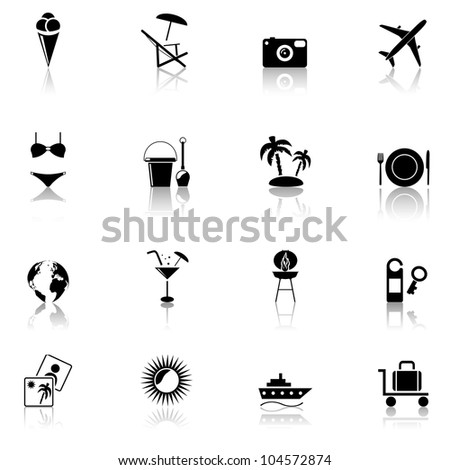 Travel & Vacation, icons set. Part 1 - stock vector