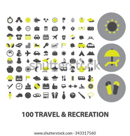 travel, vacation, tourism icons, signs vector concept set for infographics, mobile, website, application  - stock vector