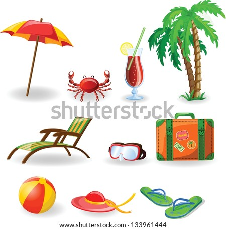 Travel vacation vector icons - stock vector