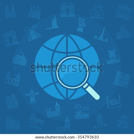 Travel vector illustration - blue travel concept background with famous world landmarks linear icons - stock vector