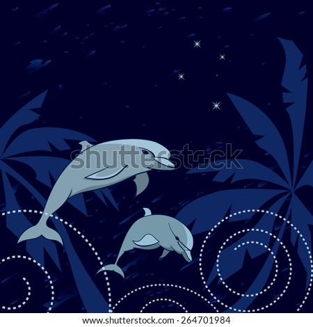 travel vector illustration with dolphins, palms and Southern Cross - stock vector