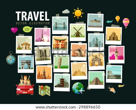 Travel vector logo design template. summer vacation or tourism icons - stock vector