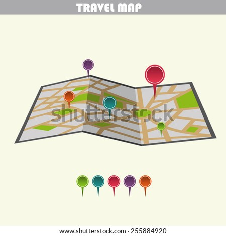 travel vector map with pins - stock vector