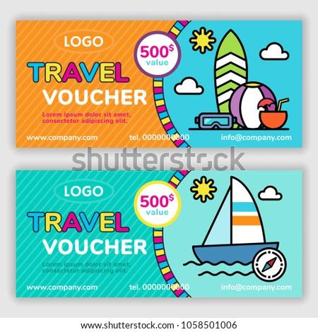travel voucher template vector illustration