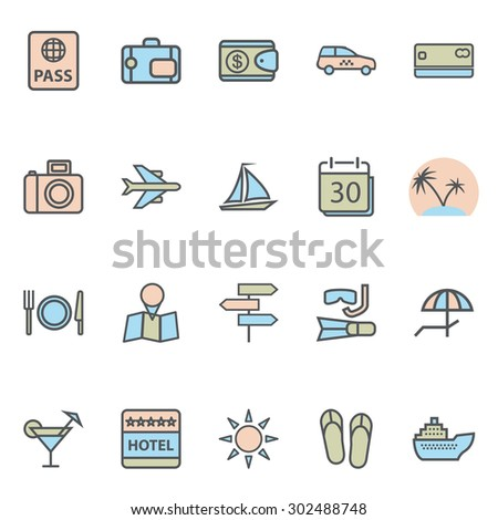 Travel Web Icons and Tourism Symbols. Modern Collection Isolated on white background. Illustration. Vector EPS10. - stock vector
