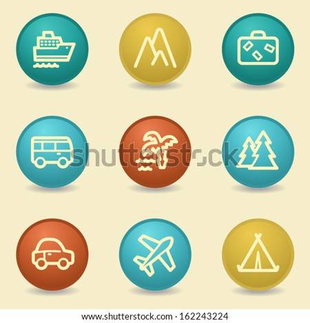 Travel web icons, retro buttons