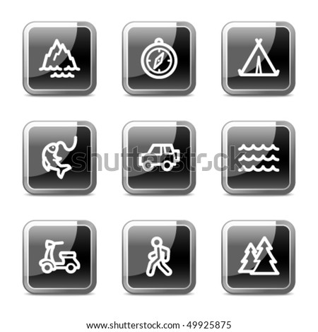 Travel web icons set 3, black square glossy buttons series - stock vector
