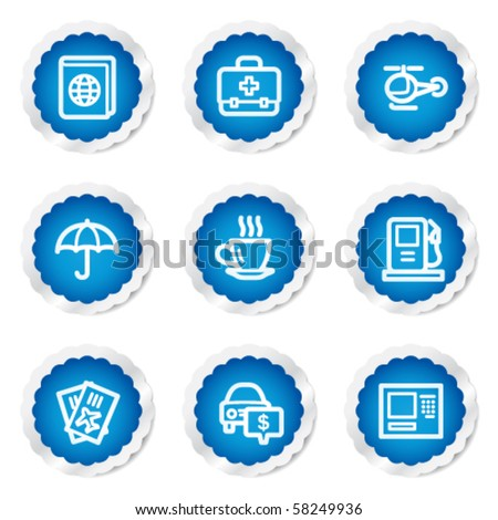 Travel web icons set 4, blue stickers series - stock vector