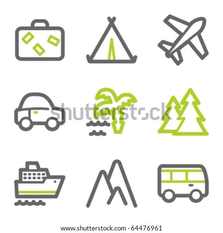 Travel web icons set 1, green and gray contour series - stock vector