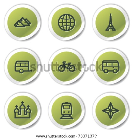 Travel web icons set 2, green circle stickers - stock vector