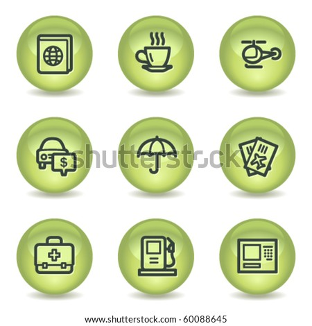 Travel web icons set 4, green glossy circle buttons