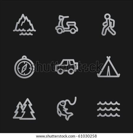 Travel web icons set 3, grey mobile style - stock vector
