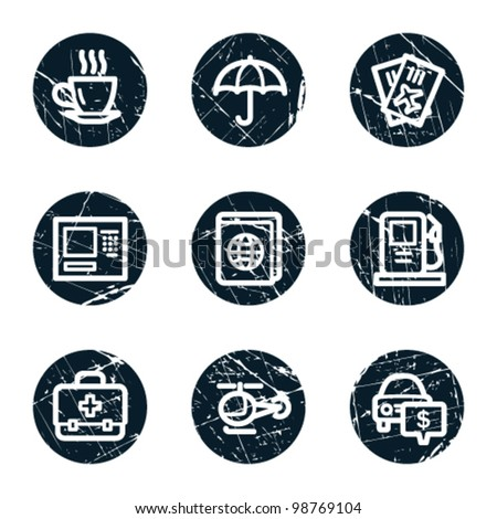 Travel web icons set 4, grunge circle buttons - stock vector