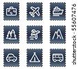 Travel web icons set 1, navy stamp series - stock
