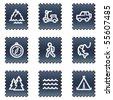Travel web icons set 3, navy stamp series - stock