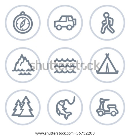 Travel web icons set 3, white circle series - stock vector