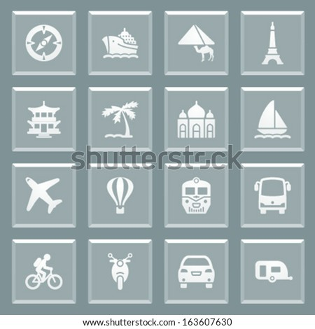Travel white icons on glass buttons. - stock vector