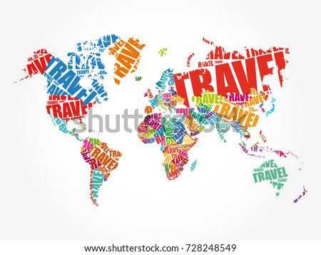 Travel word shape world map typography vector de stock728248549 travel word in shape world map typography words cloud business concept background gumiabroncs Image collections