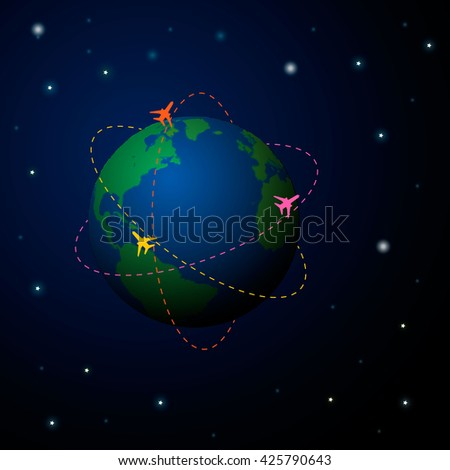 Travel World map background with top view airplane. Vector illustration design.