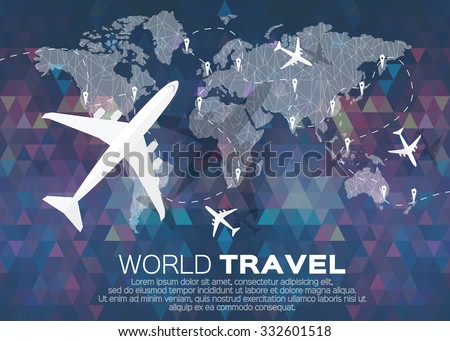 Travel World map in polygonal style with top view airplane. Vector illustration design. - stock vector