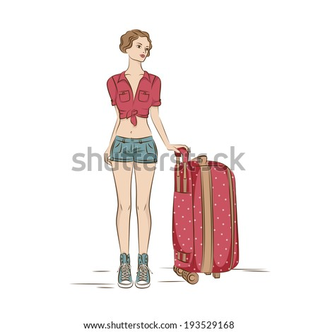 Travel. Young stylish woman with her  suitcase. Illustation on white - stock vector