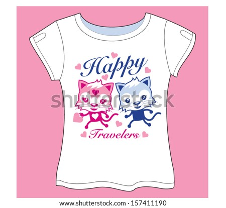 Traveler Cats T-shirt - stock vector
