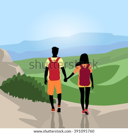 Traveler Couple Silhouette Hiking Mountain Top Valley Man Woman Rear View Nature Background Vector Illustration - stock vector