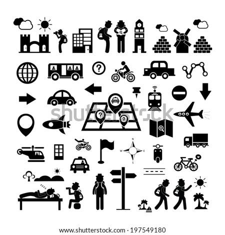 traveler explorer icon on white background  - stock vector