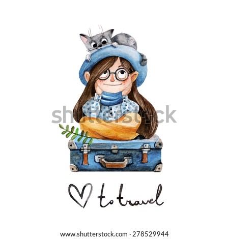 Traveler girl with a cat. Vector illustration in watercolor style. Cute children's character. - stock vector