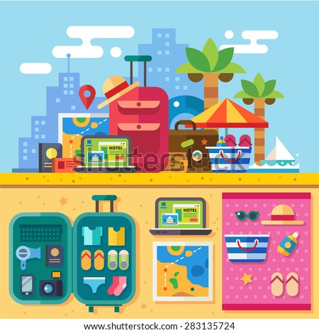 Traveler set for summer vacation with packed bags. Open suitcase. Relaxing on beach, search for destination. Hotel reservation. Travel by sea. Vector flat illustration - stock vector