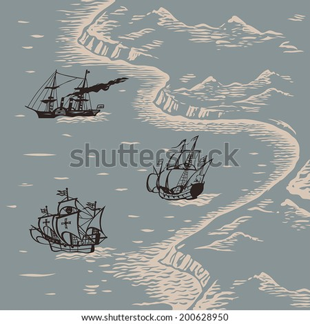 Travelers ships sailing to discover new lands engraving style hand drawn vector illustration - stock vector
