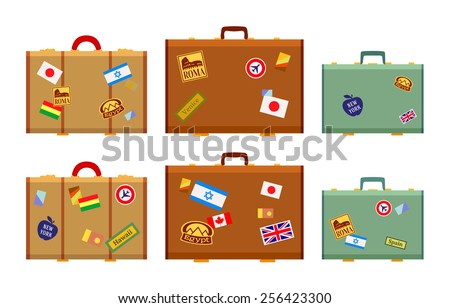Travelers suitcases with the stickers. The objects are isolated against the white background and shown from one side - stock vector