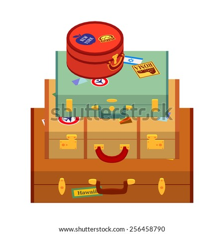Travelers suitcases with the stickers. The objects are isolated against the white background and logically layered - stock vector