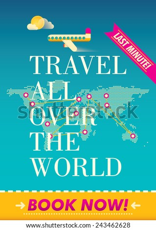 Traveling advertising poster design. Vector illustration. - stock vector