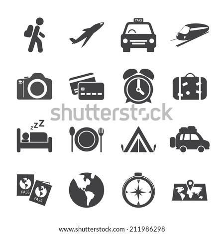 traveling and transport icon set, vector eps10. - stock vector