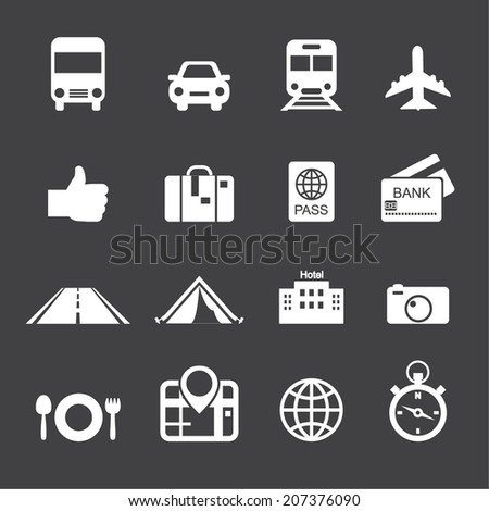 Traveling and transport icons - stock vector
