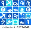 traveling and transportation icon set - stock vector