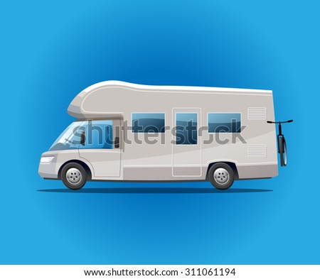 Traveling auto camper with a bicycle . Vector Illustration.
