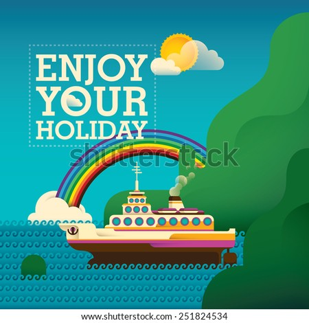 Traveling background with cruise ship. Vector illustration. - stock vector