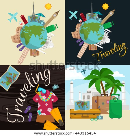 Traveling bag suitcase trip or vocation, tourism baggage for voyage vector illustration. Summer tourist concept with stack of luggage on background of world landmarks, packaging label sticker travel
