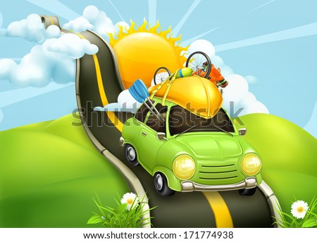 Traveling by car, vector illustration - stock vector
