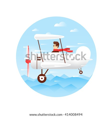 Traveling by plane, flying over the mountains, adventure, vacation, holiday, summer. Flat design vector illustration. - stock vector