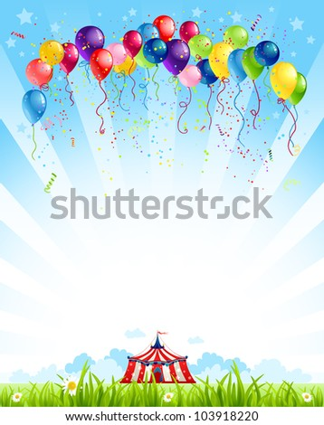Traveling circus  under blue sky and bunch of balloons - stock vector