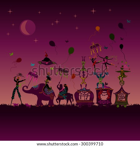 traveling colorful circus caravan with magician, elephant, dancer, acrobat and various fun characters in one row at night - stock vector