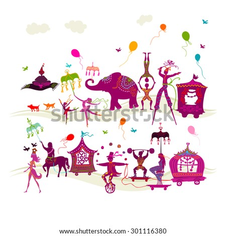 traveling colorful circus caravan with magician, elephant, dancer, acrobat and various fun characters in two rows on white background - stock vector