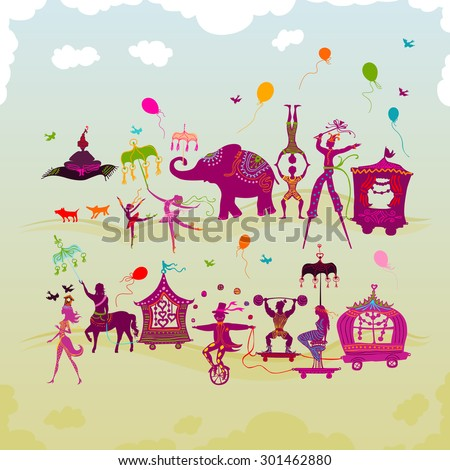 traveling colorful circus caravan with magician, elephant, dancer, acrobat and various fun characters in two rows during daylight - stock vector