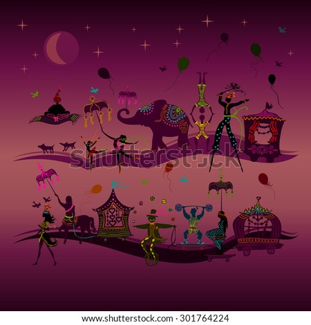 traveling colorful circus caravan with magician, elephant, dancer, acrobat and various fun characters in two rows at night - stock vector