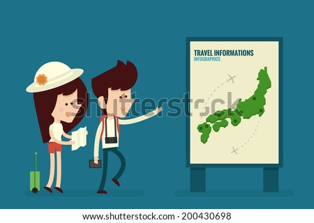 Traveling Couple Flat design, vector - stock vector