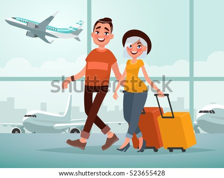 Traveling couple of young people. Man and woman with luggage are go in the airport building. Vector illustration in cartoon style